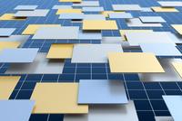 重なる四角形と格子模様 CG