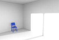 白い部屋に置かれた青色の椅子 CG 11019037282| 写真素材・ストックフォト・画像・イラスト素材|アマナイメージズ