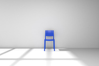 白い部屋に置かれた青色の椅子 CG