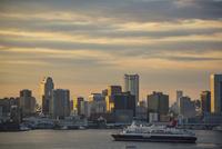 東京湾を航行するにっぽん丸と湾岸のビル群 夕景
