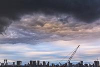 東京湾岸の高層ビル群と雨雲