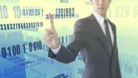 指をさすビジネスマンと数字が並ぶ空間 CG
