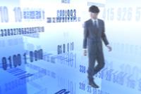 歩くビジネスマンと数字が並ぶ空間 CG