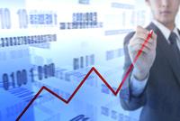 折れ線グラフを書くビジネスマン CG