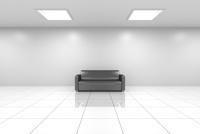 白い空間に黒いソファ CG 11019037495| 写真素材・ストックフォト・画像・イラスト素材|アマナイメージズ