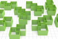 重なる立体的な四角形と格子模様 CG