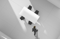 会議室を歩くビジネスマン CG 11019037564| 写真素材・ストックフォト・画像・イラスト素材|アマナイメージズ