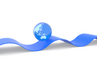 立体の曲線と地球 CG