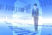 ビジネスマンと数字が並ぶ空間 CG