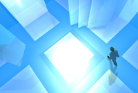 歩くビジネスマンと光る空間 CG