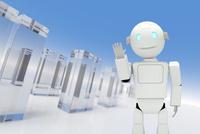 手を挙げるロボット CG