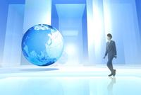 空間を歩くビジネスマンと地球 CG