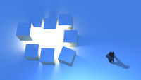 歩くビジネスマンと光と立方体 CG