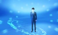 ビジネスマンとリング状の光 CG