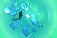 歩くビジネスマンと光る四角形 CG