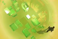 歩くビジネスマンと光る四角形 CG 11019038109| 写真素材・ストックフォト・画像・イラスト素材|アマナイメージズ
