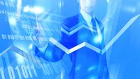 指をさすビジネスマンと並ぶ数字と折れ線グラフ CG 11019038117| 写真素材・ストックフォト・画像・イラスト素材|アマナイメージズ