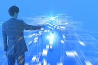 光の放射を指さすビジネスマン CG 11019038491| 写真素材・ストックフォト・画像・イラスト素材|アマナイメージズ
