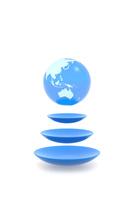 3つの円形の上に浮かぶ地球 CG