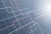 回路形状の線と光と格子模様 CG