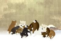 子犬たちと富士山 イラスト 11019038907| 写真素材・ストックフォト・画像・イラスト素材|アマナイメージズ