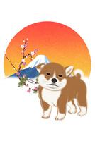 子犬と朝日と梅と富士山 イラスト 11019038911| 写真素材・ストックフォト・画像・イラスト素材|アマナイメージズ