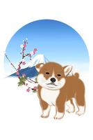 子犬と富士山と梅 イラスト 11019038914| 写真素材・ストックフォト・画像・イラスト素材|アマナイメージズ