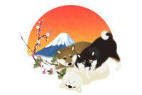 3匹と子犬と富士山と梅 イラスト 11019038932| 写真素材・ストックフォト・画像・イラスト素材|アマナイメージズ