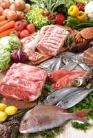 肉と魚介 11020000591| 写真素材・ストックフォト・画像・イラスト素材|アマナイメージズ
