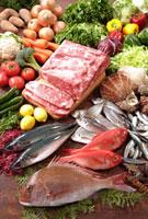 肉と魚介 11020000593| 写真素材・ストックフォト・画像・イラスト素材|アマナイメージズ