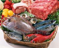 肉と魚介 11020002888| 写真素材・ストックフォト・画像・イラスト素材|アマナイメージズ