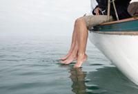 Couple sitting on edge of boatWoman 11021001413| 写真素材・ストックフォト・画像・イラスト素材|アマナイメージズ
