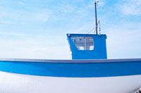 Blue and white fishing boat