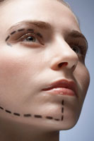 Dotted lines on womans face