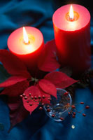 Poinsettia and holly branch near candles