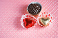 Close-up of three chocolates