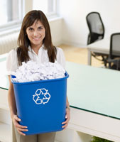 Woman Holding Paper Recycling Bin