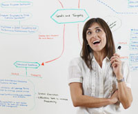 Woman Having an Idea by Whiteboard