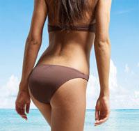 Mid-Section of Young Woman in Bikini