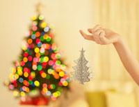 Hand Holding Christmas Decoration