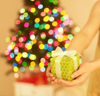 Christmas Present in Woman�fs Hand