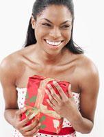 Woman Holding Christmas Present