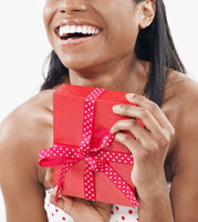 Mid-Adult Woman Holding Present