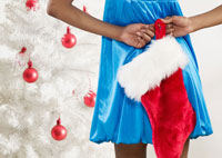 Woman Holding Christmas Stocking