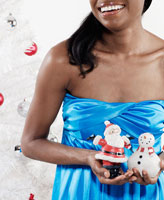 Woman Holding Christmas Decorations