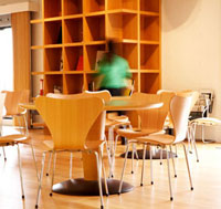 Woman by Bookshelf in Cafe