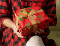 Mid-Section View of Woman Holding Christmas Present