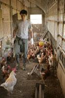 鶏小屋と男性