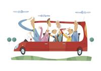 ドライブをする三世代家族