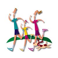 ジョギングをする家族